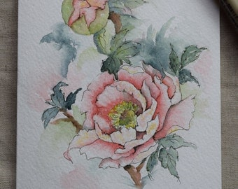 Peach Peony Watercolor Painted Card- Original or Print
