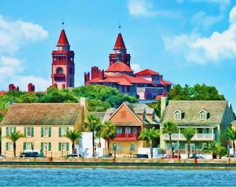 St. Augustine, Bayfront, Historic City, Fine Art, Historic Street, Cityscape, Flagler College, Urban Decor, City Decor, Large Prints
