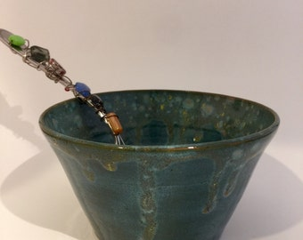Handmade bowl - Perfect for Ice cream or cereal-glazed in blue/greens with drip effect