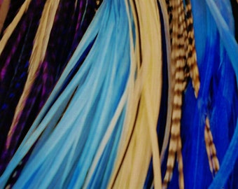 Feather Hair Extensions Bluemix with threading tool & beads