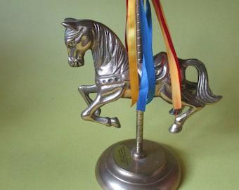 FINAL MARKDOWN PRICE! Brass Carousal Horse on Stand, Brass Horse, Brass Horse on Stand, Brass Horse, Carousal Horse, Children's Carousal