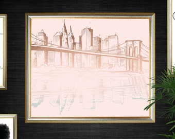Blush Rose Gold Printable - New York City Skyline - INSTANT DOWNLOAD