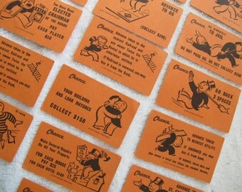 Vintage Monopoly Chance cards (set of 16) / orange Monopoly cards / Game board scrapbooking