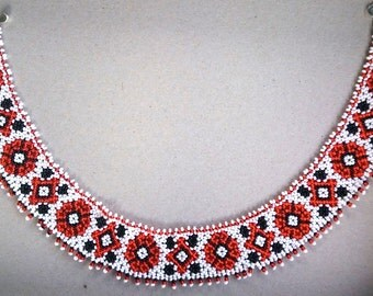 "Beaded necklace Slavic Ethnostyle ""Sylanka"".  Necklace collar."