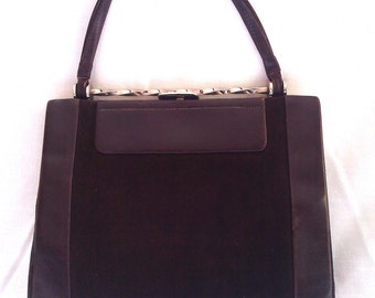 Small brown leather handbag and leather Vintage