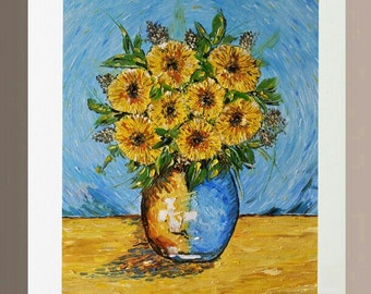 Original Oil Painting - Yellow Gerberas in Vase
