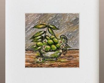Art Print - Limes in Vintage Bowl