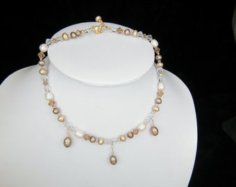 Ginger Pearl and Crystal Back Drop Choker Necklace