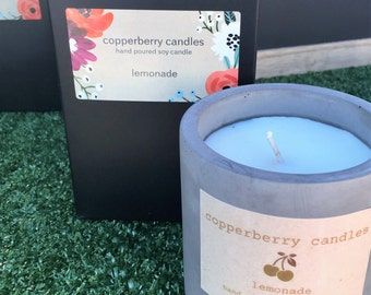 hand poured soy candle in concrete pot