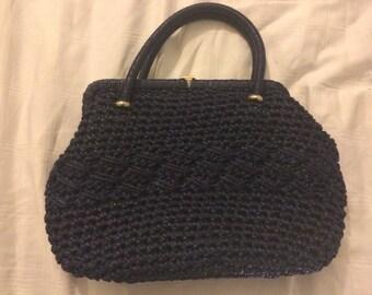 Vintage 1960,s Navy Blue straw crochet kelly bag rockabilly