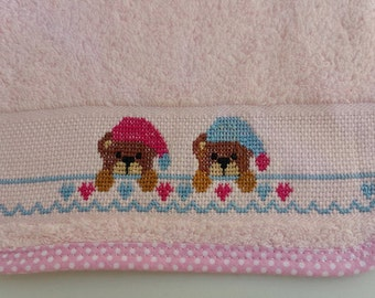 Baby bib- cross stitch bib- handmade teddy bears bib- cotton bib- baby gift- baby shower gift- hand embroidered- cross stitch-Bibs and Burpi