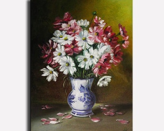 """Still life of flowers Still life painting Flower painting Oil painting on canvas Home decor Pink flowers cosmos Size 12x16"""" (30x40 cm)"""