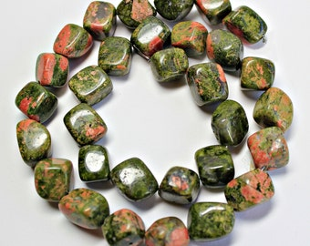 Natural Unakite Diagonally-drilled Nugget Loose Beads, Natural Gemstone Beads, Semi precious Gemstone Beads, Full Strand, Wholesale Beads