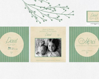 Announcements and stationery birth Chevron vintage boy