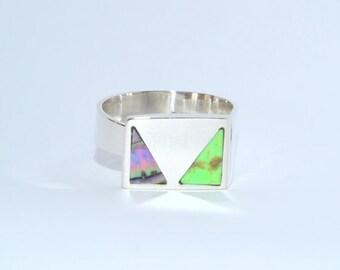 Adjustable Sterling Silver Ring Green Angel