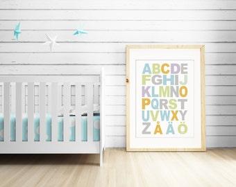 Scandinavian Alphabet Kids Poster, Abc Nursery Colorful Print, Typographic poster, ABC Nursery Wall Art, Alphabet Nordic Art, Finnish ABC