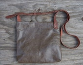 Crossbody Bag - Distressed Moss Leather, Adjustable Brown Leather Strap, Brass Hardware, Metal Zipper. Linen Lining. Minimalist Bag by Foxly