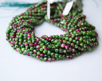 Faceted Dyed Jade Look like Ruby Zoisite Round Loose Beads 4mm