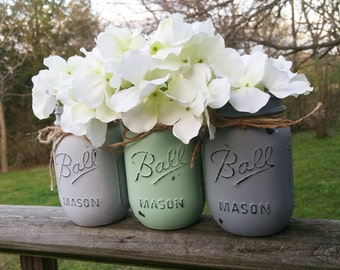 Mint and Gray Mason Jars With or Without Flowers, Hydrangeas