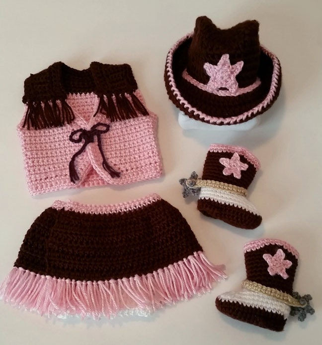 Crochet Baby Cowgirl 5-Piece Outfit Size 0-3 by TheRustedPansy