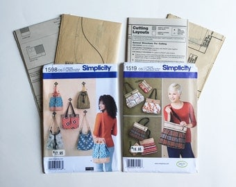Simplicity Sewing Patterns, Tote Sewing Pattern, Purse Sewing Patter, Bag Sewing Pattern, New Uncut, 1519 1598, Sewing Patterns for Women