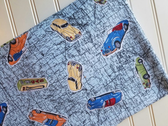 Interlock knit cars vintage road map fabric by the yard for Vintage childrens fabric by the yard