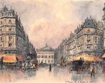 L'Avenue de L'Opéra à Paris - 20.5 x 15 cm - 8 x 6 inches