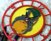 Totoro under the leaf III wooden clock with engraving for painting and DIY projects