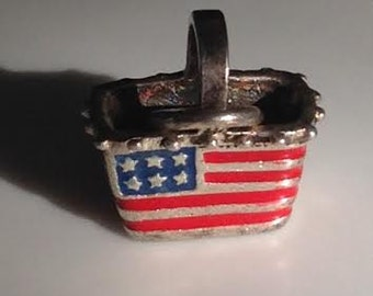 Adorable 4th of July Sterling Silver Basket Charm ~ 925
