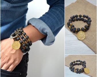 LAVA beads bracelet with Phaistos disc charm or teardrop pendant, bohemian bracelet, gypsy bracelet, gold beaded bracelet, greek jewelry