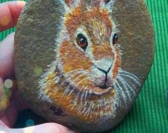 Hare - Hand Painted Cornish Beach Stone