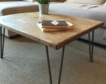 Rustic Wooden Coffee Table Made From Reclaimed Scaffold Boards & Steel Hairpin Legs - Urban Industrial