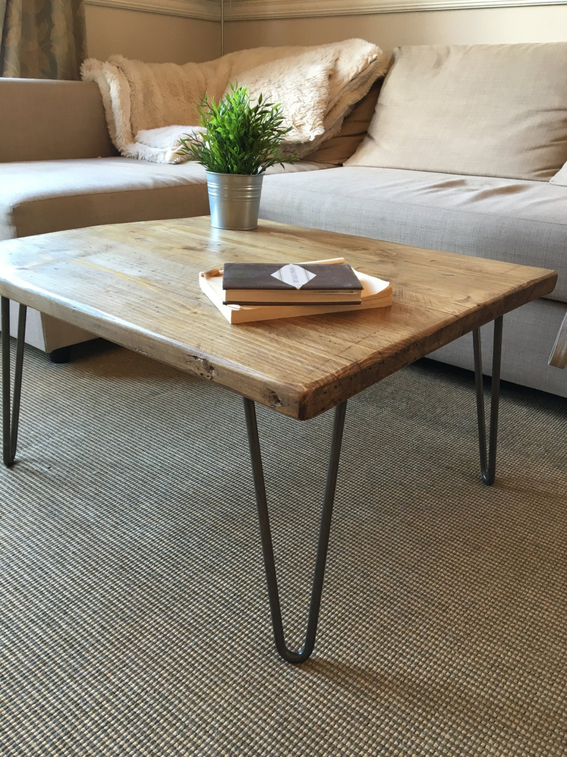 Rustic Wooden Coffee Table Made From Reclaimed Scaffold Boards