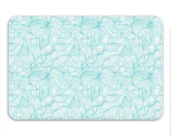 Foam Bath Mat/Light Floral Printed Microfiber