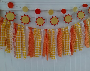 You are my sunshine banner, sun fabric banner, sun fabric rag tie banner, hello sunshine banner, 1st birthday banner