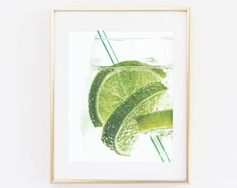 Lime Drink Bubbles Photography, Kitchen Wall Art, Fine Art Photo, Lemons, Modern Wall Art, Mojito Print, Kitchen Art Print, Printable Art