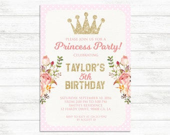 PRINCESS PARTY INVITATION, Printable Invitation, Baby Girl Invitation, First Birthday Invite, Pink Gold Floral Printable Invitation Princess