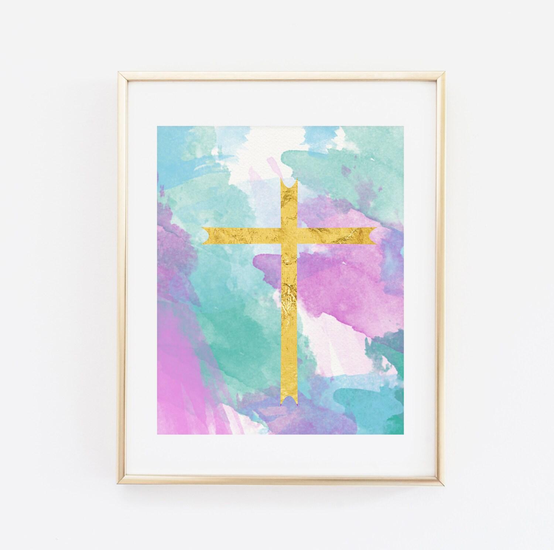 Gold Cross Wall Decor : Gold cross wall art printable home decor pastel watercolors