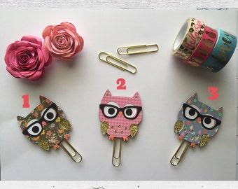 Paper Clip, Owl, glitter, nerd, glasses, cute
