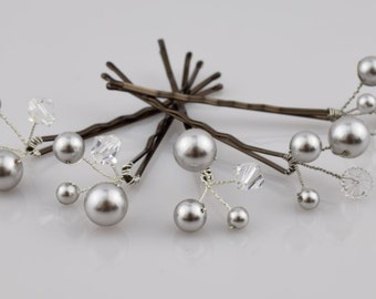 Pearl Hair Pins, Wedding Hair Pins, Bridal Hair Pins, Swarovski Pearl Hair Pin, Set of 8, Crystal Hair Pin, Wedding Jewelry, Bridal Hair Pin