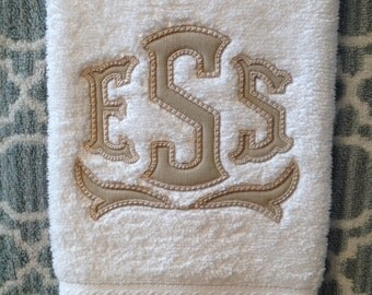 Set of Two Applique Monogram Hand Towels