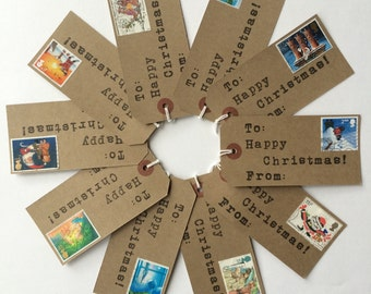 Kids Gift Tags - Christmas Gift Tags - Christmas Labels - Holiday Gift Tags - Vintage Christmas - Postage Stamps - Handmade Christmas