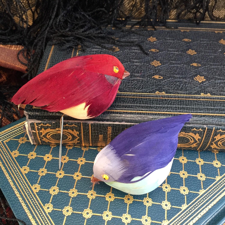 Feathered birds set of 2 artificial bird craft birds for Fake birds for crafts
