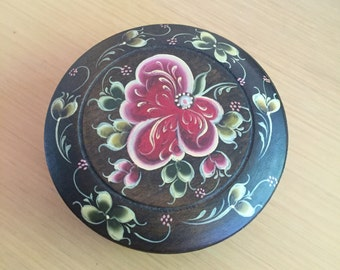 Hand Painted Wooden Trinket Box - Made in England