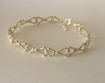 Retro silver woven bracelet 925 shaped calipers on horseback