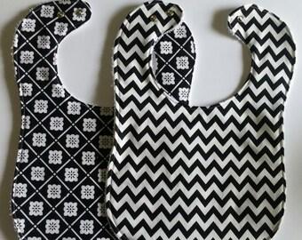 Black / White Infant  and Toddler Bib
