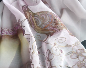 Hand Painted Scarf-Bird Scarf-blossomed tree-pale rose color-painted by hand-womens scarves-chiffon scarf,evening dress-gift for woman-art
