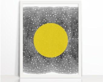 Moon, Moon Printable, La Lune, The Moon, Kids Wall Art, Nursery, Watercolor, Art Printable, Bedroom decor,  Printables, Wall Decor
