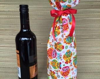 Owl Fabric Wine Bottle Gift Bag,Fabric Wine Bag, Fabric Bottle Bag, Fabric Gift Bag,bWine Bottle Bag, Wine Gift Bag, Fabric bag