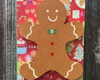 Gingerbread Man 3-D Wooden Sign